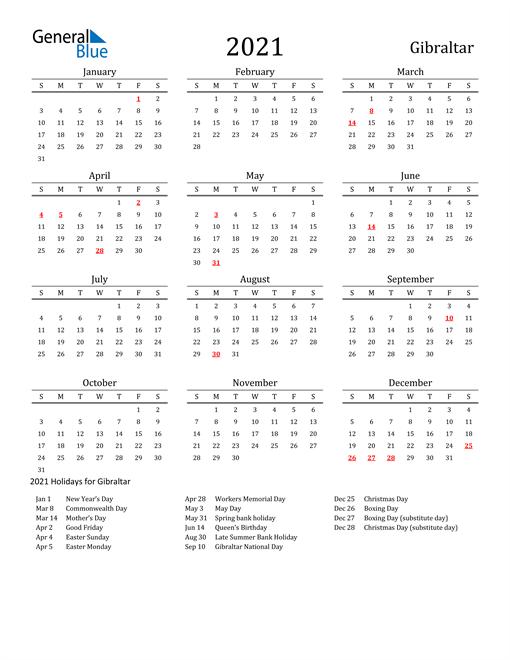 Gibraltar Holidays Calendar for 2021