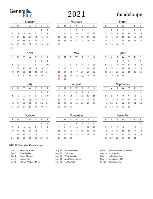 Guadeloupe Holidays Calendar for 2021