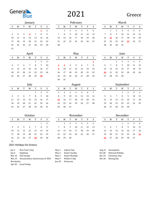Image of 2021 Printable Calendar Classic for Greece with Holidays