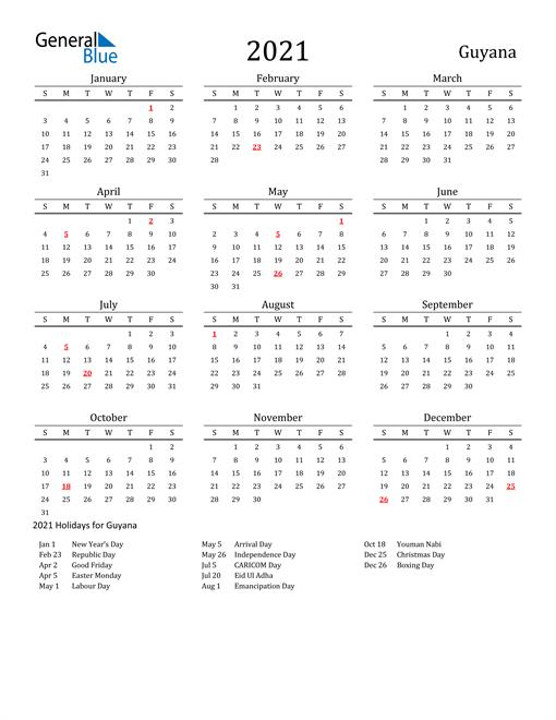 Guyana Holidays Calendar for 2021