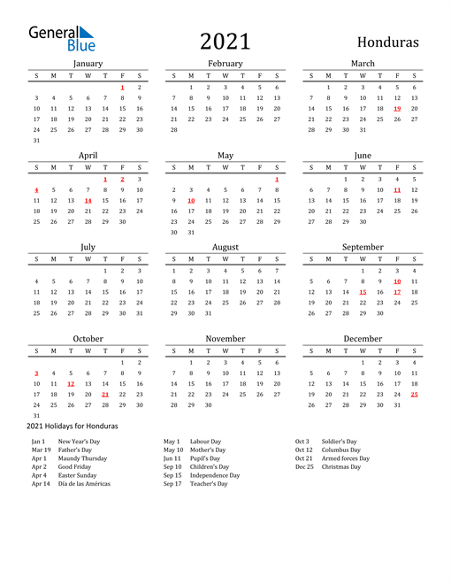 Image of 2021 Printable Calendar Classic for Honduras with Holidays