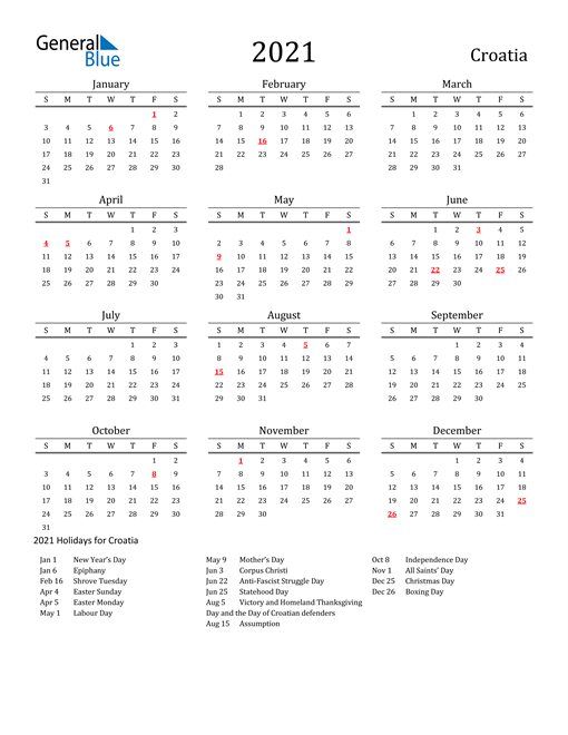 Image of 2021 Printable Calendar Classic for Croatia with Holidays