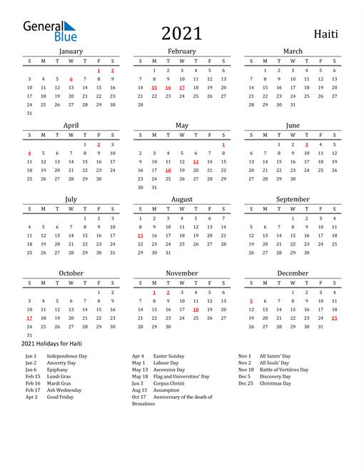 Haiti Holidays Calendar for 2021