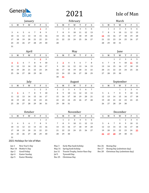 Isle of Man Holidays Calendar for 2021