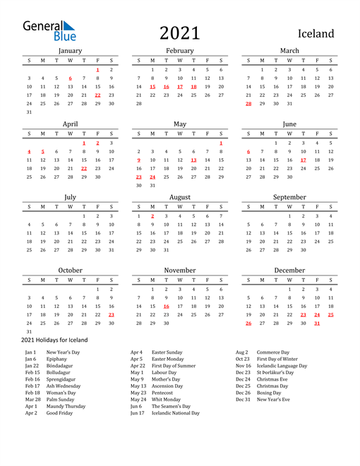 Image of 2021 Printable Calendar Classic for Iceland with Holidays