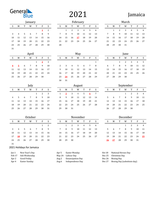 Jamaica Holidays Calendar for 2021