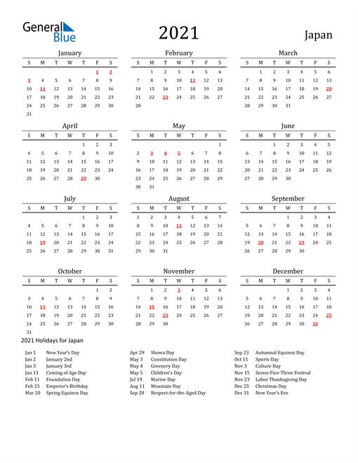 Japan Holidays Calendar for 2021
