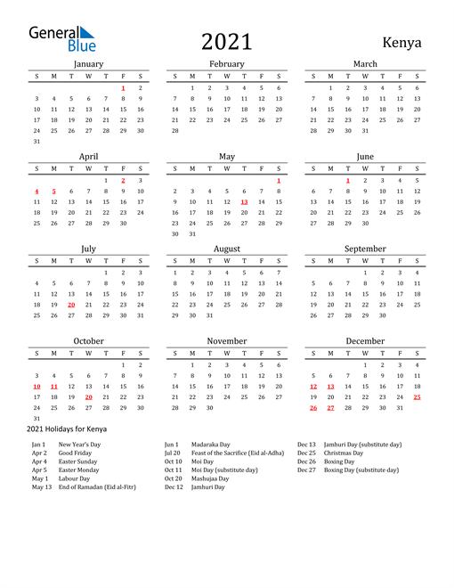 Kenya Holidays Calendar for 2021