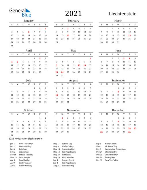 Liechtenstein Holidays Calendar for 2021