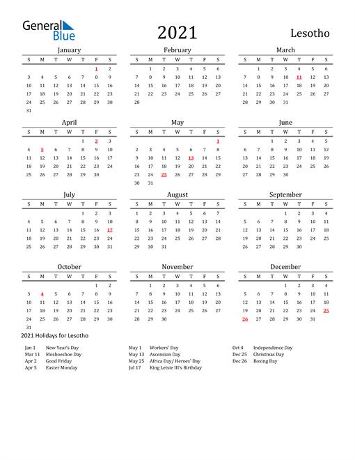 Lesotho Holidays Calendar for 2021