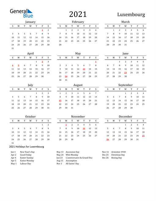 Image of 2021 Printable Calendar Classic for Luxembourg with Holidays