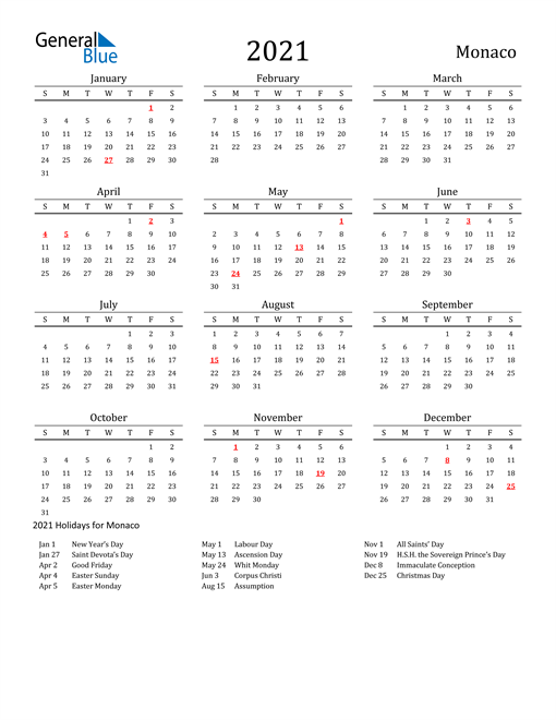Image of 2021 Printable Calendar Classic for Monaco with Holidays