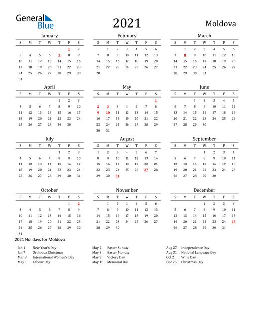 Moldova Holidays Calendar for 2021