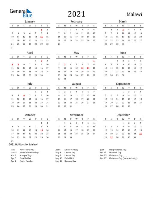 Malawi Holidays Calendar for 2021
