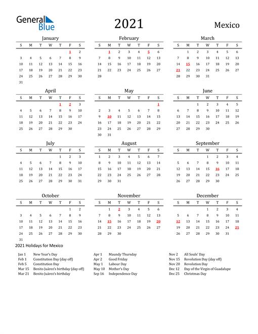 Mexico Holidays Calendar for 2021