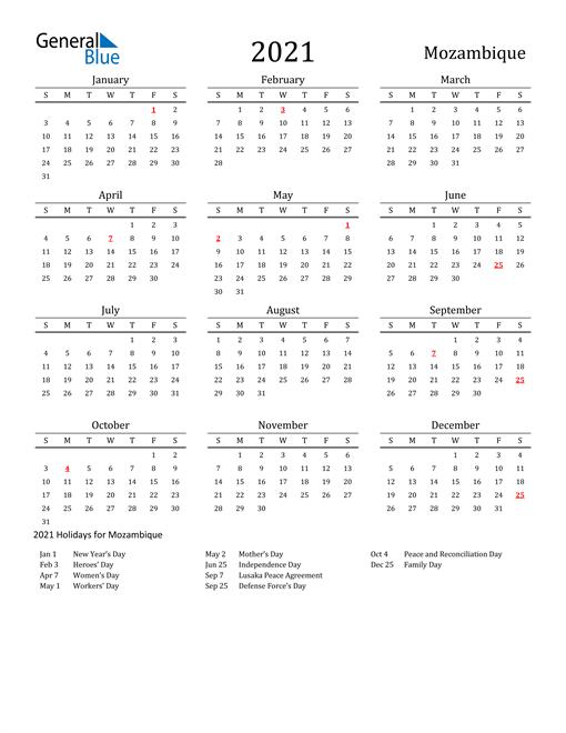 Mozambique Holidays Calendar for 2021