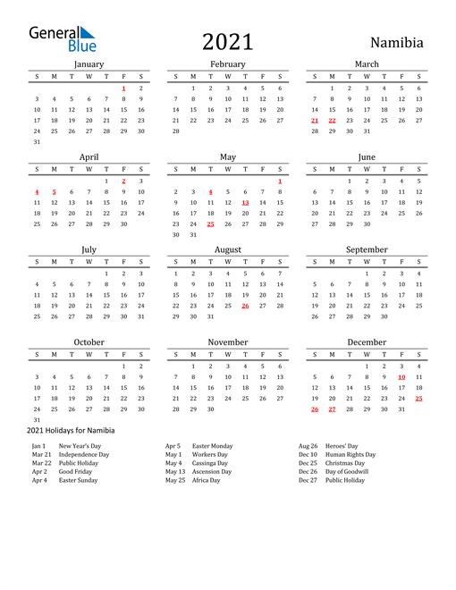 Namibia Holidays Calendar for 2021