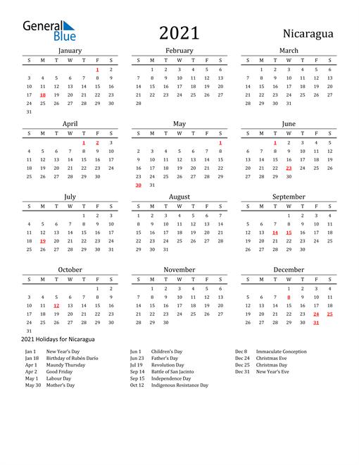 Nicaragua Holidays Calendar for 2021
