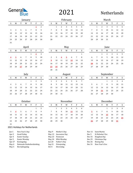 2021 Calendar - Netherlands with Holidays