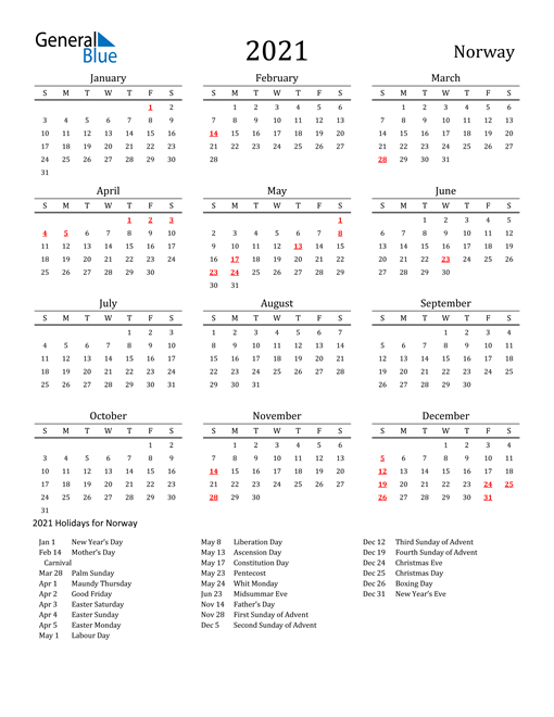 Image of 2021 Printable Calendar Classic for Norway with Holidays