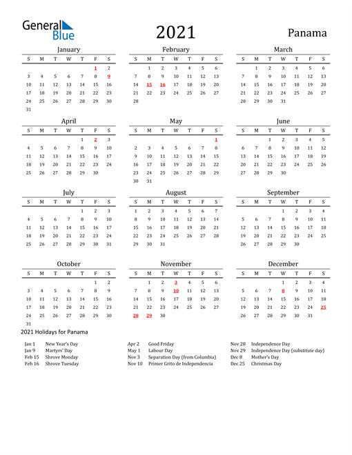 Panama Holidays Calendar for 2021