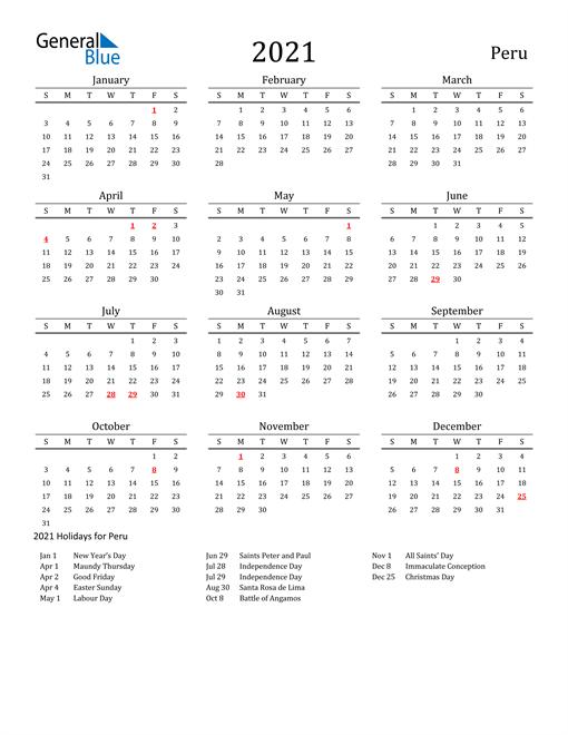 Peru Holidays Calendar for 2021