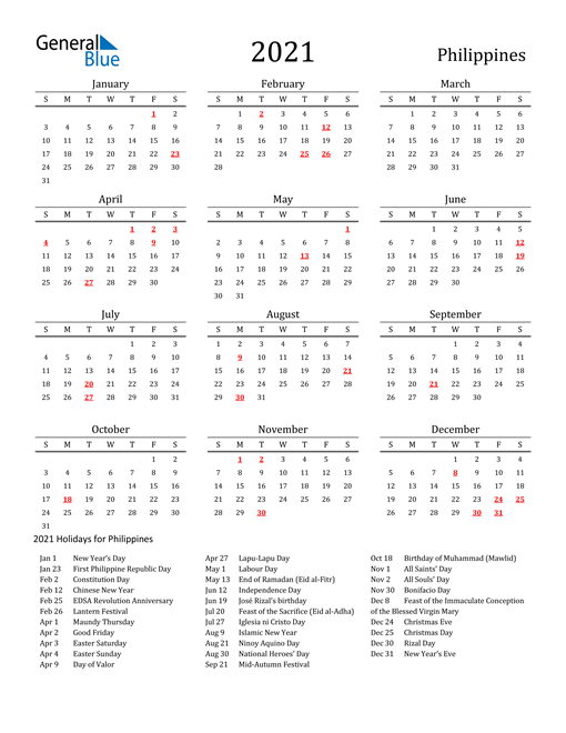 Philippines Holidays Calendar for 2021