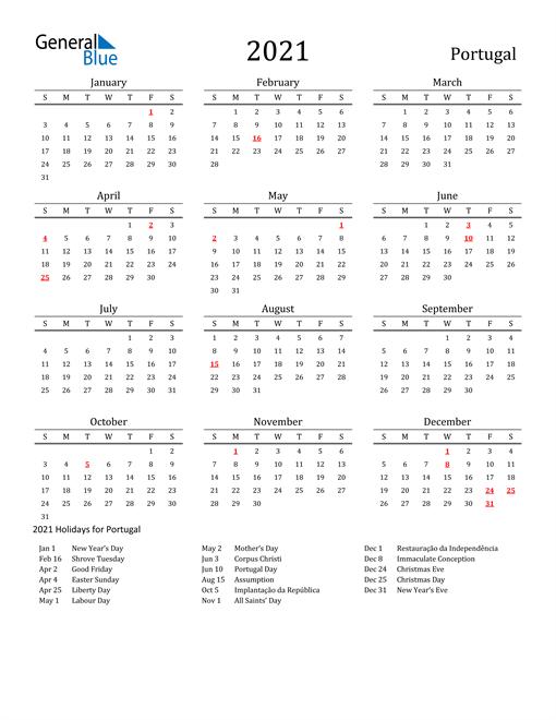 Portugal Holidays Calendar for 2021