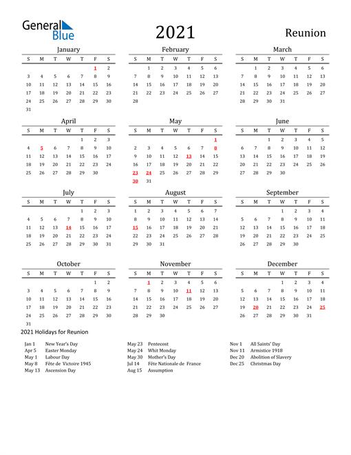 Reunion Holidays Calendar for 2021
