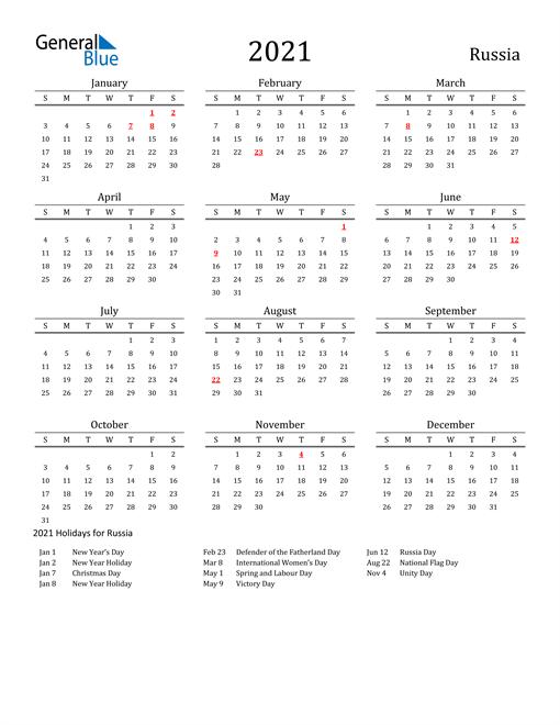 Russia Holidays Calendar for 2021