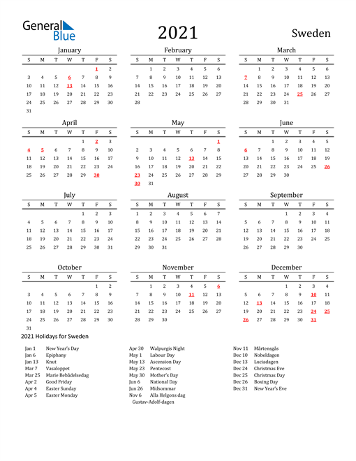Image of 2021 Printable Calendar Classic for Sweden with Holidays