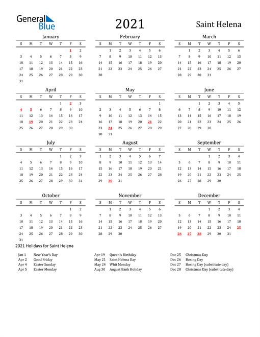 Saint Helena Holidays Calendar for 2021