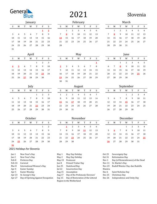 Slovenia Holidays Calendar for 2021