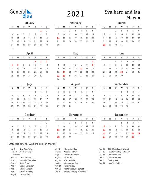 Svalbard and Jan Mayen Holidays Calendar for 2021