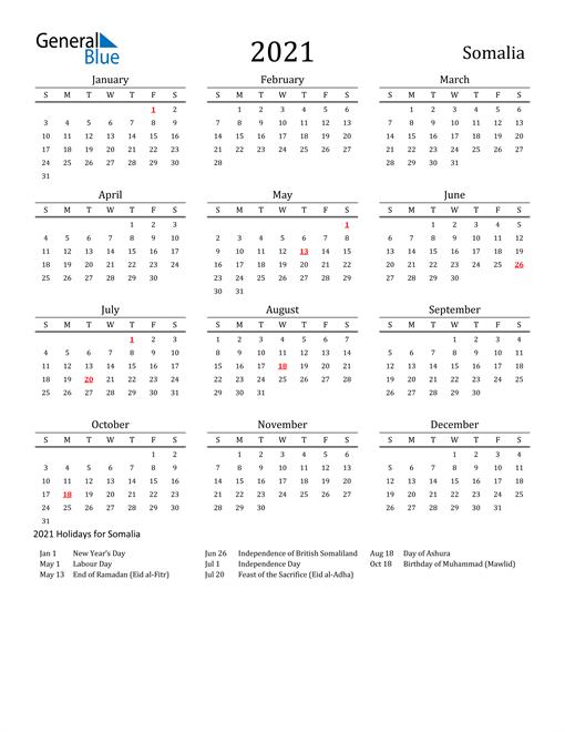 Image of 2021 Printable Calendar Classic for Somalia with Holidays