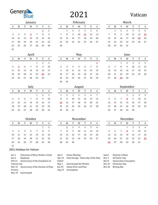 Vatican Holidays Calendar for 2021