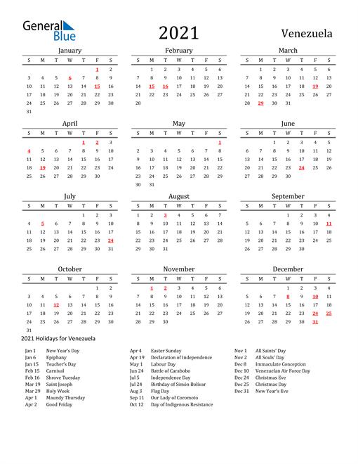 Venezuela Holidays Calendar for 2021