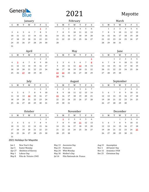 Mayotte Holidays Calendar for 2021