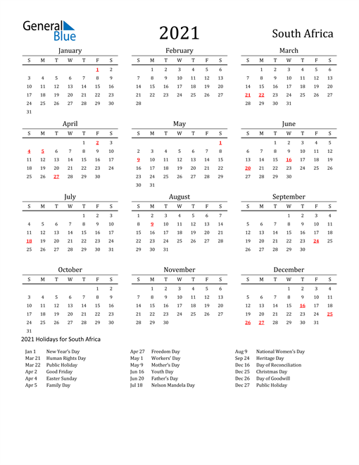 Image of 2021 Printable Calendar Classic for South Africa with Holidays