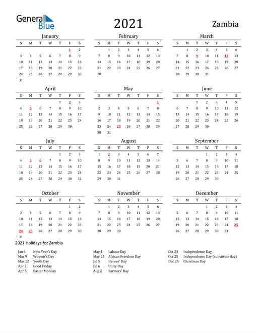 Zambia Holidays Calendar for 2021