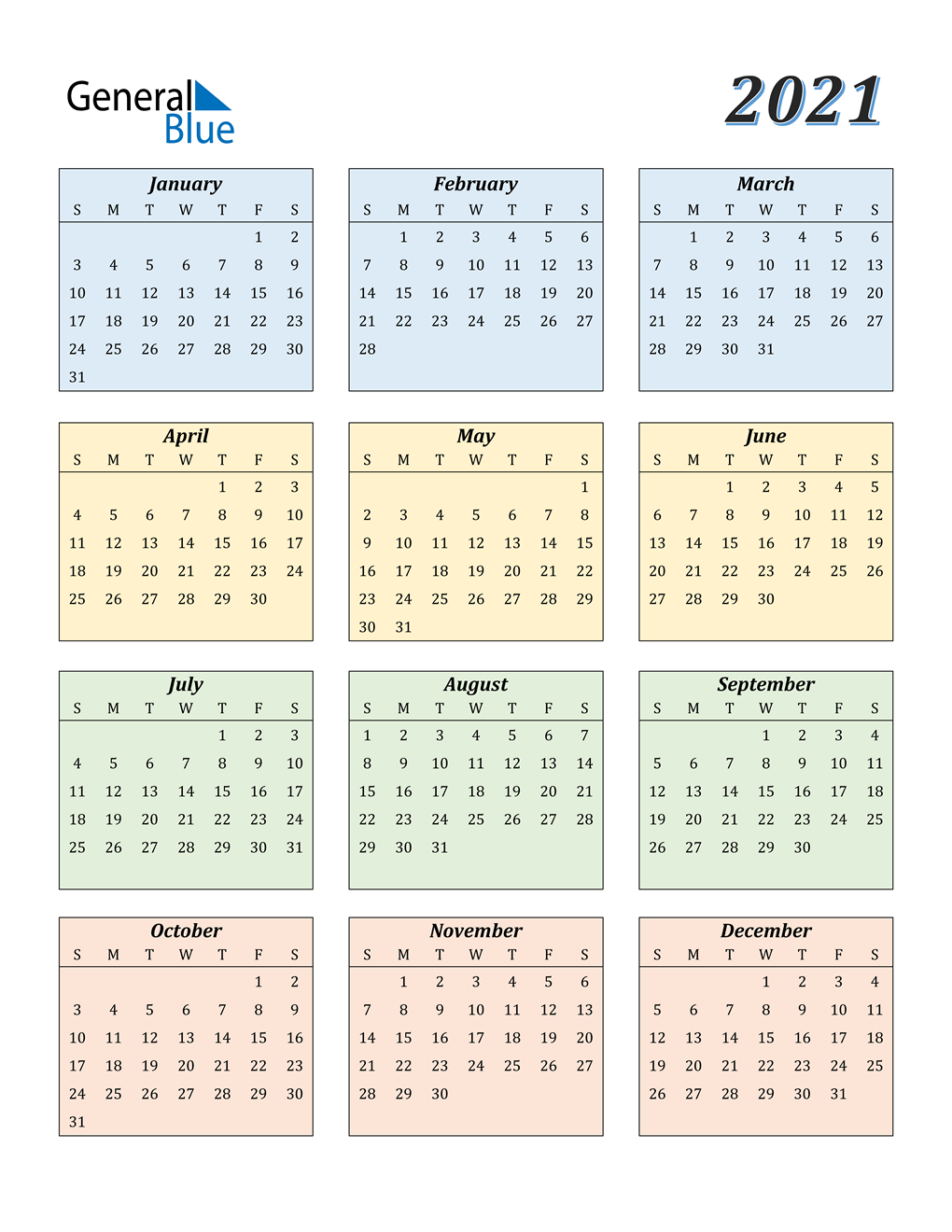 Download Calendario 2021 Word 2021 Calendar (PDF, Word, Excel)