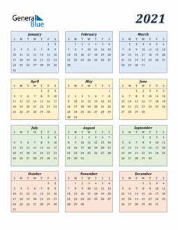 Image of 2021 2021 Calendar with Color
