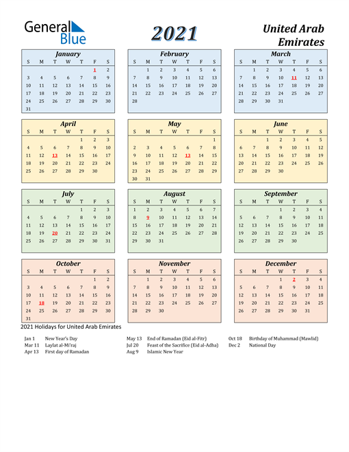 Image of United Arab Emirates 2021 Calendar with Color with Holidays