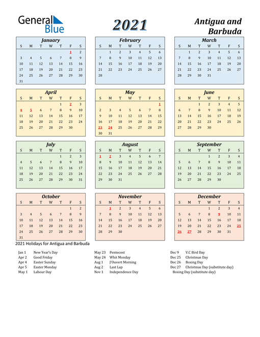 Antigua and Barbuda Calendar 2021