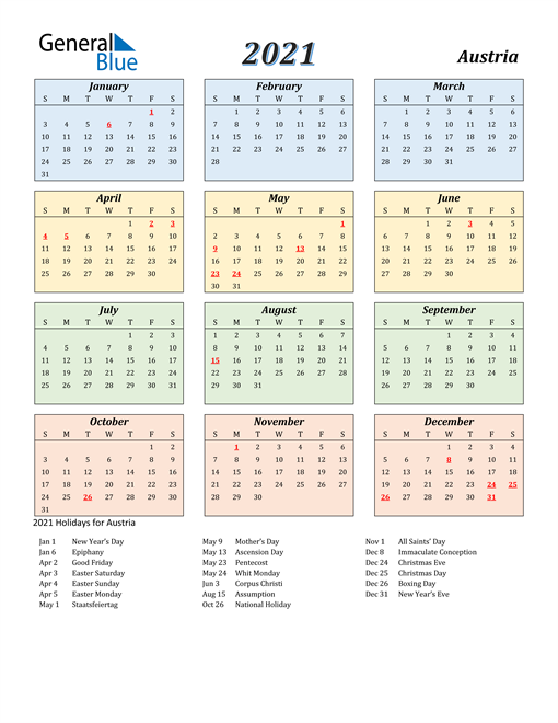 Image of Austria 2021 Calendar with Color with Holidays