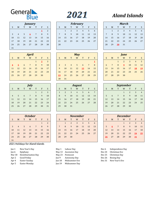 Image of Aland Islands 2021 Calendar with Color with Holidays