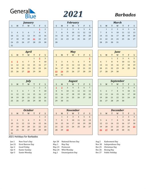 Barbados Calendar 2021