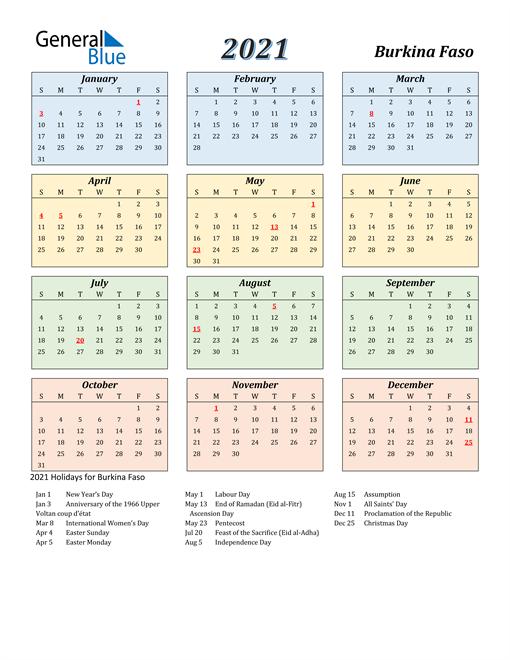 Burkina Faso Calendar 2021