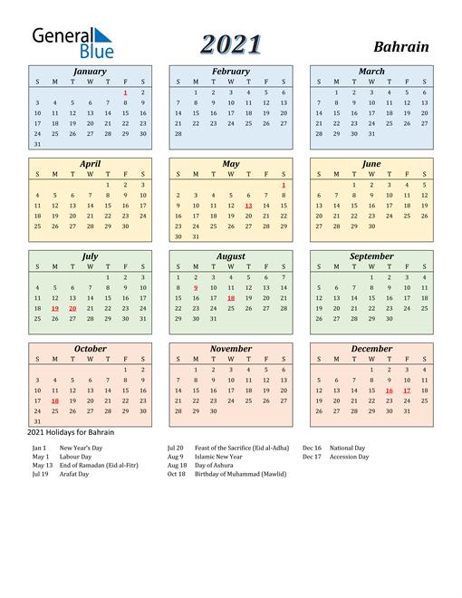 Bahrain Calendar 2021