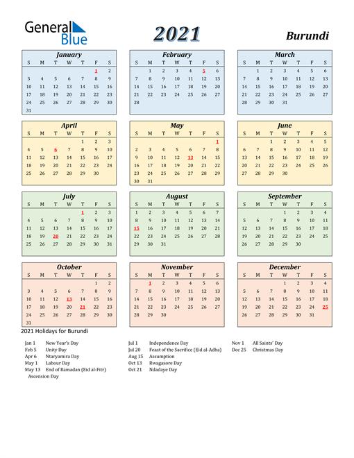 Burundi Calendar 2021